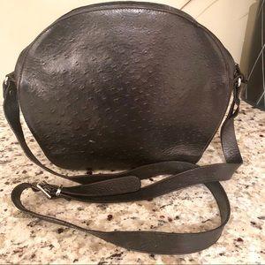 FURLA Vintage Black Ostrich Shoulder Bag Purse